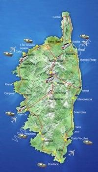 Carte de la Corse avec les moyens de transport