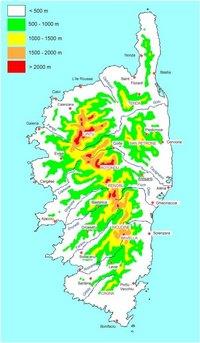 Carte de la Corse avec le relief et l'altitude en mètre