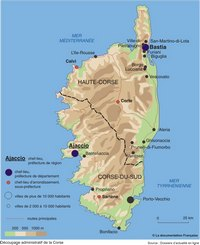 Carte de la Corse avec le relief, l'altitude, les chefs-lieux, les préfectures et les départements