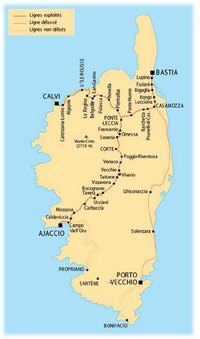 Carte de la Corse avec les trains et les gares