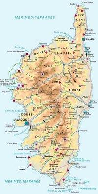 Carte de la Corse avec les villes, les aéroports, les thermes, les ponts et des informations diverses