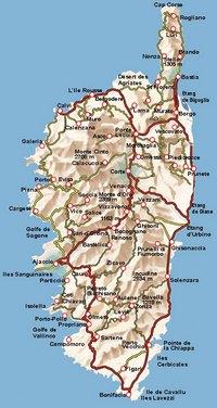 Carte de la Corse avec les routes