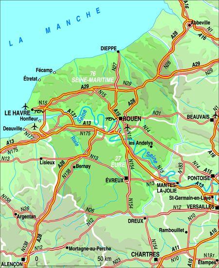 Carte g ographique haute normandie arts et voyages for Haute normandie tourisme