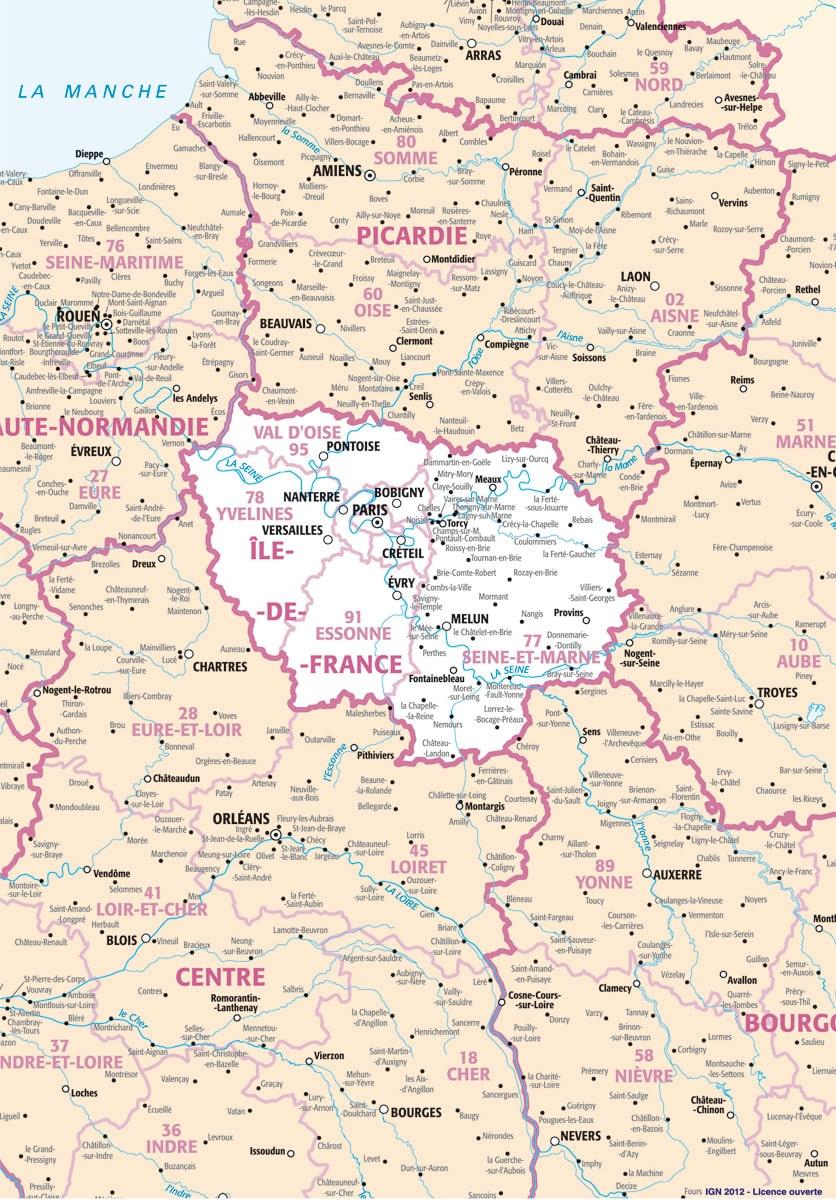 Carte de l 39 le de france for Villes des yvelines