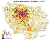Carte de l'Île-de-France avec la densité de population communale