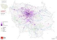 Carte de l'Île-de-France avec la densité de population à l'hectare