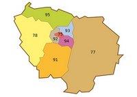 Carte de l'Île-de-France avec les départements et les numéros de département
