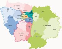 Carte de l'Île-de-France avec les départements en couleurs