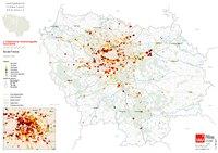 Carte de l'Île-de-France avec les hôtels et leurs nombres d'étoiles