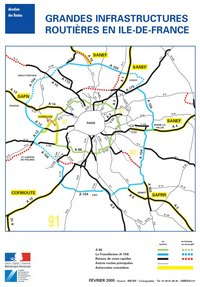 Carte de l'Île-de-France et des infrastructures routières