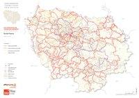 Carte de l'Île-de-France avec les itinéraires des grandes randonnées et des promenades