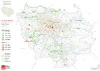 Carte de l'Île-de-France avec les parcs à thème de loisir ou animalier
