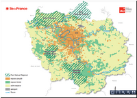 Carte de l'Île-de-France avec les parcs PNR, les espaces boisés ou peuplés, les aéroports et les fleuves