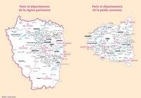 Carte de l'Île-de-France, de la région parisienne et de la petite couronne