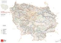 Carte de l'Île-de-France avec le relief et les courbes de niveau