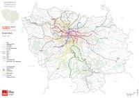 Carte de l'Île-de-France avec le réseau ferré, le métro, les trains et les TER et les RER