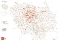 Carte de l'Île-de-France avec le réseau routier, les autoroutes, les nationales et les départementales