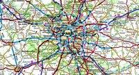 Carte routière de l'Île-de-France avec les moyens de transport et les routes