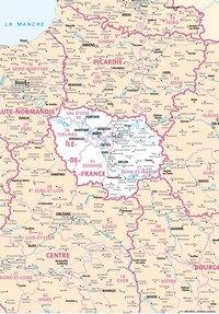 Carte de l'Île-de-France avec les villes et les départements