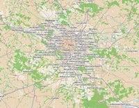 Carte de l'Île-de-France avec les villes et la végétation