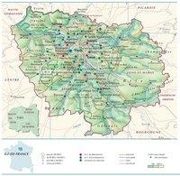 Carte de l'Île-de-France avec les villes, les routes, les autoroutes, le relief, l'altitude et les parcs naturels