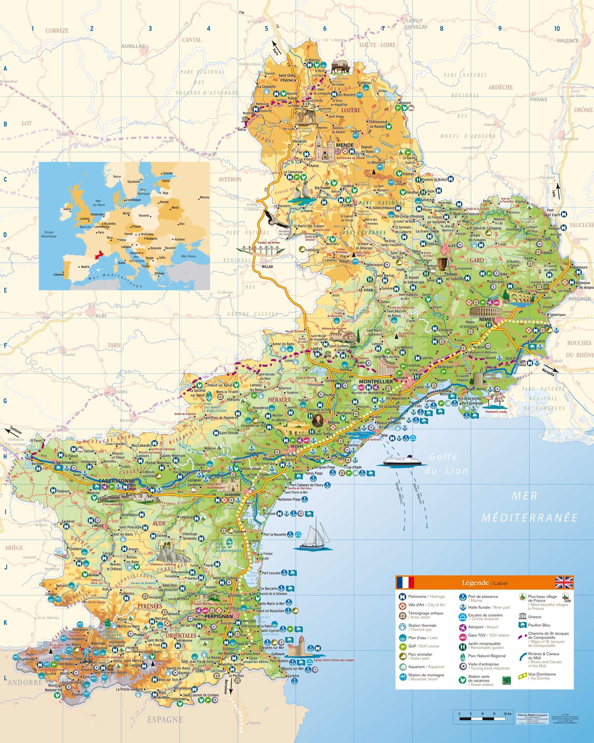 Guide touristique languedoc roussillon carte for Carte touristique