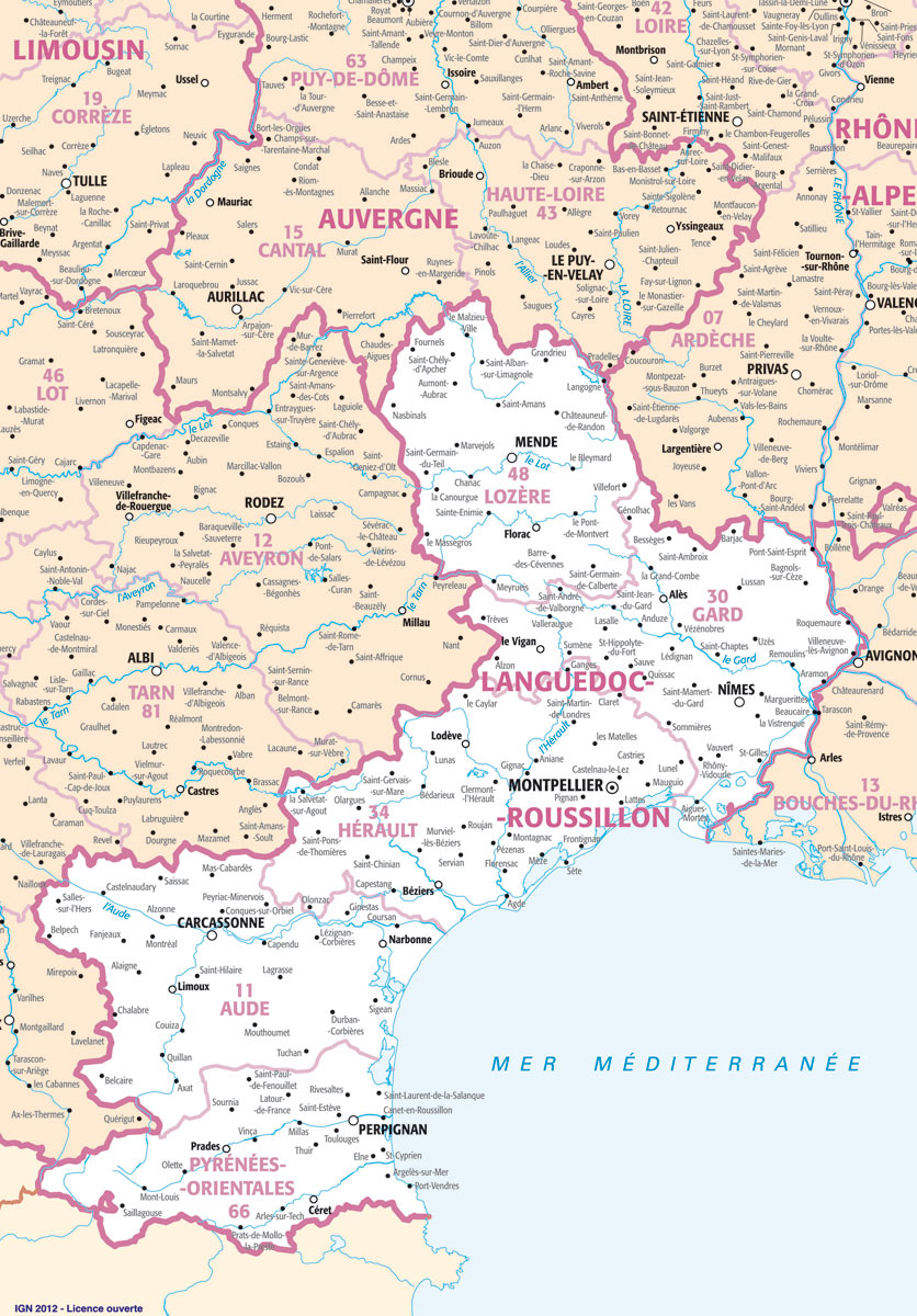 carte languedoc roussillon villes - Photo