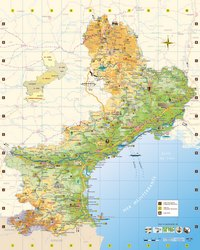 Carte du Languedoc-Roussillon avec les routes et des informations touristiques
