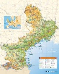 Carte du Languedoc-Roussillon avec les villes, les routes, les ports de plaisance et les stations thermales