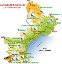 Carte du Languedoc-Roussillon avec les plus beaux villages