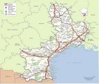 Carte du Languedoc-Roussillon avec les routes, les autoroutes, les départementales et les aéroports