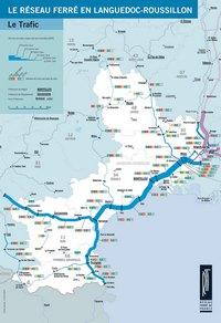 Carte du Languedoc-Roussillon avec le trafic du réseau ferré et des chemins de fer