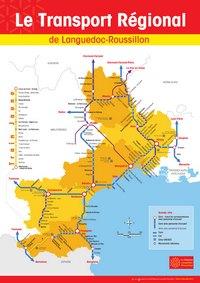 Carte du Languedoc-Roussillon avec le transport régional en train et en car