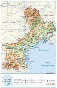 Carte du Languedoc-Roussillon avec les villes, les routes, les autoroutes, le relief et l'altitude