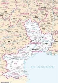 Carte du Languedoc-Roussillon avec les villes et les rivières