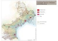 Carte du Languedoc-Roussillon avec les zones d'urbanisation