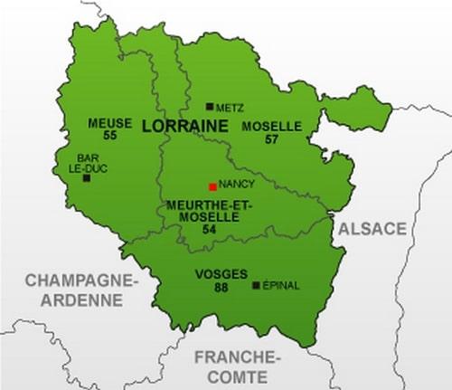 Cartograf.fr : Les régions de France : La Lorraine