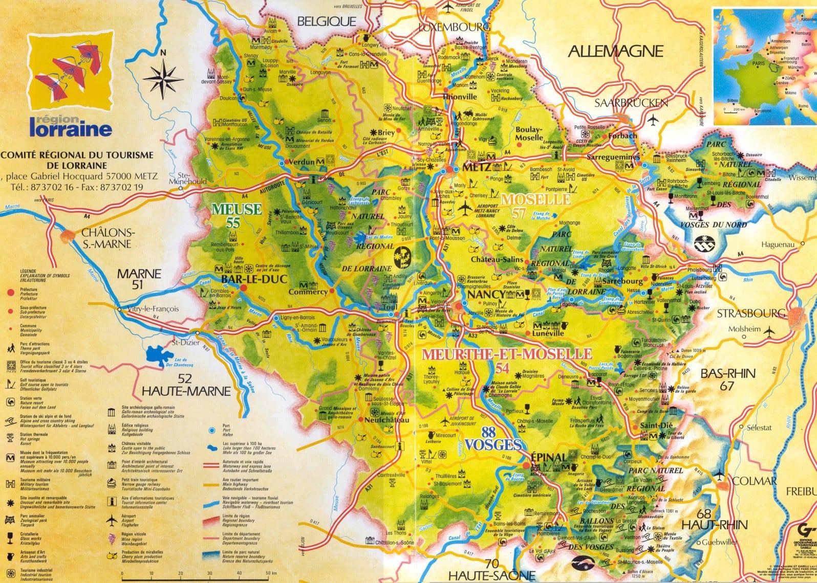 Info lorraine carte touristique voyages cartes for Carte touristique