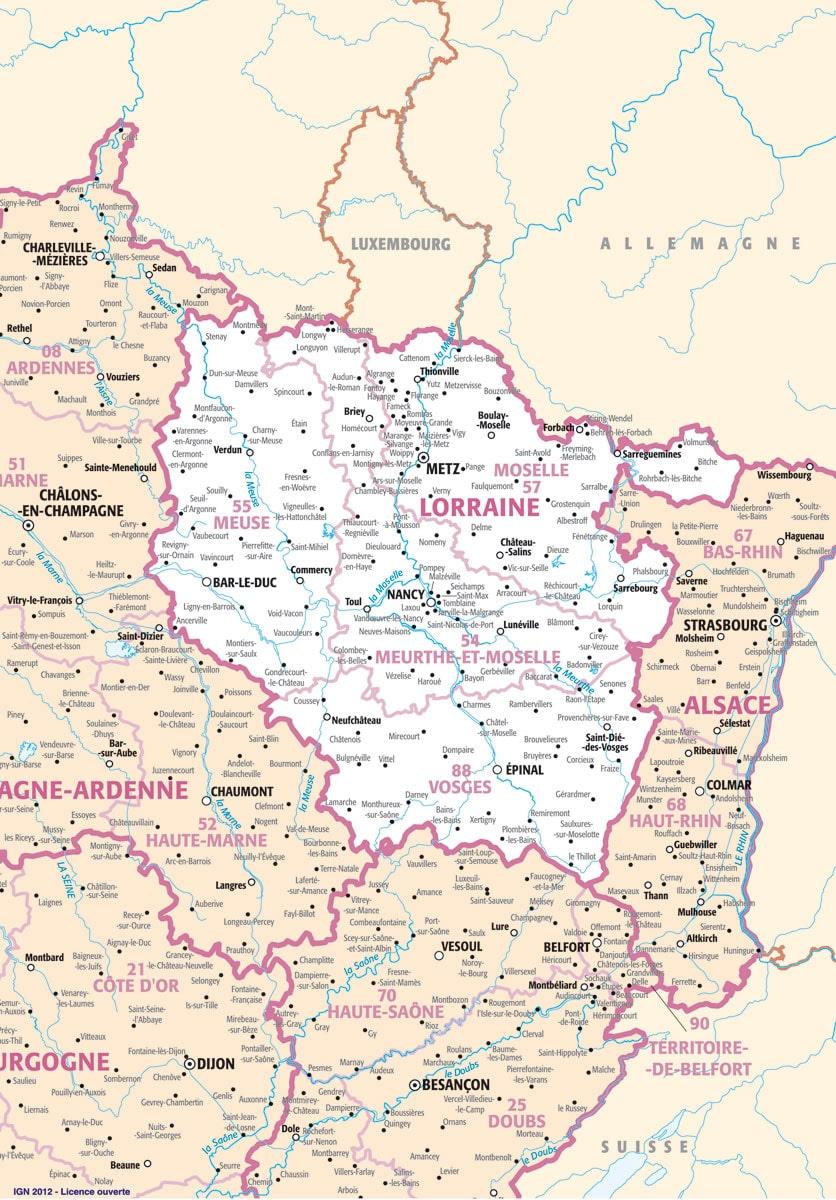 Alsace lorraine carte voyages cartes for Piscine lorraine