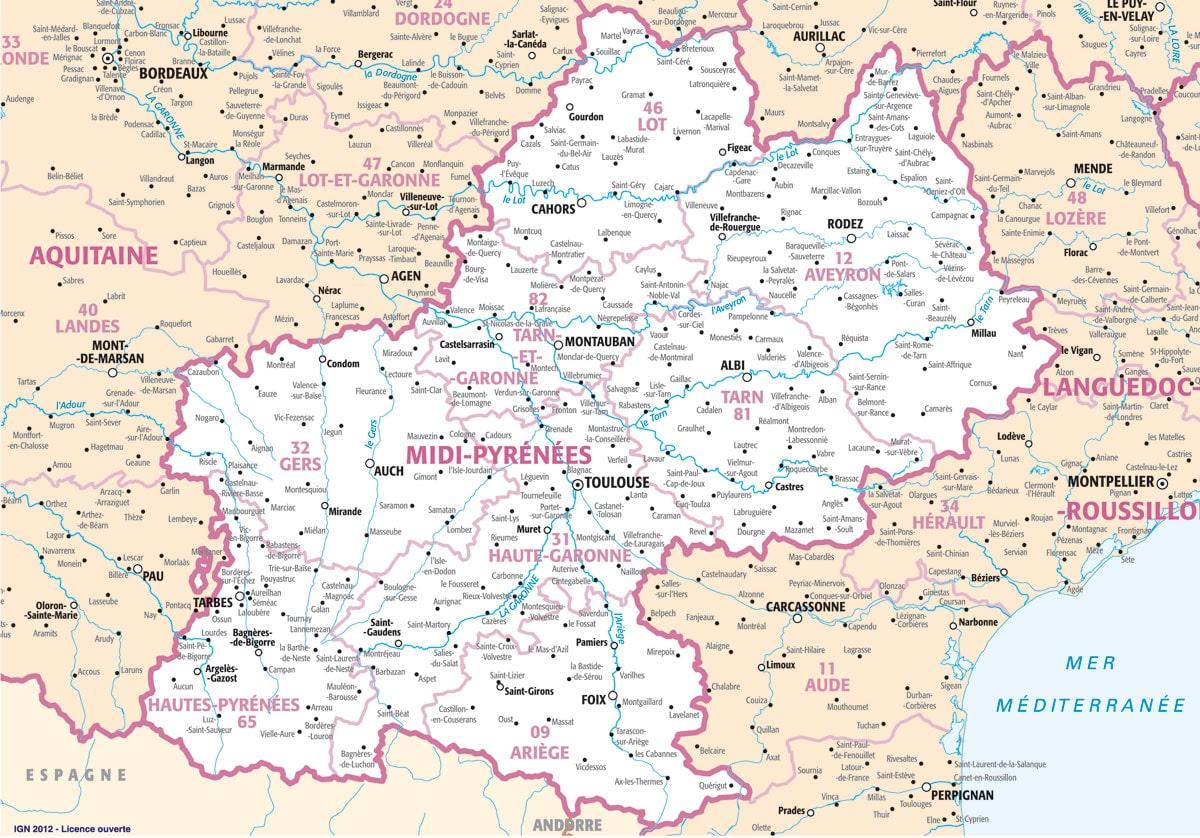 carte region midi pyrenees - Image