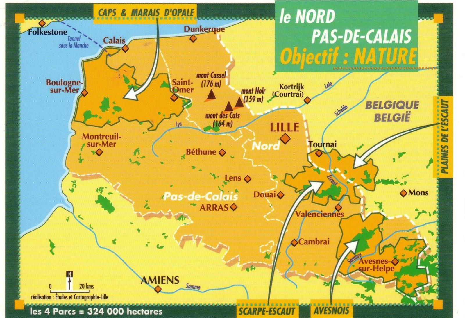 Carte Du Nord Pas De Calais Avec Les Parcs Naturels