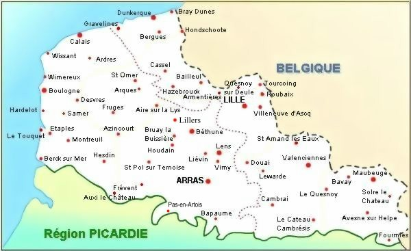 Carte Nord Pas De Calais Avec Villes.Cartograf Fr Regions De France Le Nord Pas De Calais