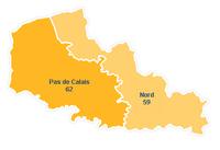 Carte du Nord-Pas-de-Calais avec les départements et les numéros