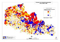 Carte du Nord-Pas-de-Calais avec l'évolution de la densité de la population entre 1990 et 1999