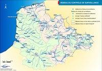 Carte routière du Nord-Pas-de-Calais avec l'hydrographie et le réseau hydrographique