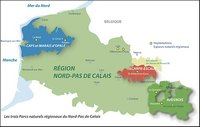 Carte du Nord-Pas-de-Calais avec les Parcs Naturels Régionaux