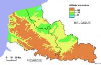 Carte du Nord Pas de Calais avec le relief et l'altitude en mètre