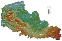 Carte du Nord Pas de Calais avec le relief, l'altitude en mètre et le nom des massifs