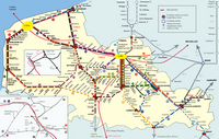 Carte du Nord-Pas-de-Calais avec les liaisons en train détaillées et les gares