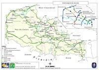 Carte du Nord Pas de Calais avec les véloroutes ou pistes cyclables